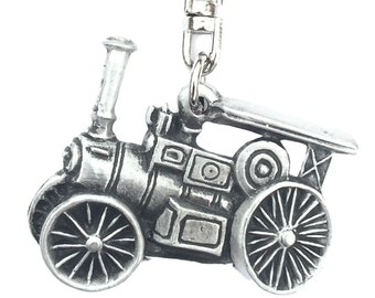 Traction Engine Handcrafted In Solid English Pewter Key ring Hin-KR1265