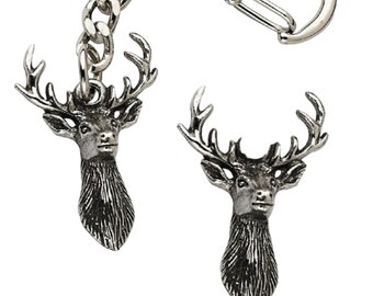 Antlers Deer Keyring And Pin Badge Boxed Gift Set Handcrafted In Solid Pewter