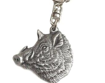 Silver Springing Boar English Pewter Keyring Handmade In England Key Ring New