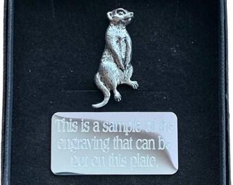 Meerkat Brooch Badge Pin Scarf Fastener Gift In Black