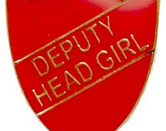 Deputy Head Girl Enamel School Shield Badge Green