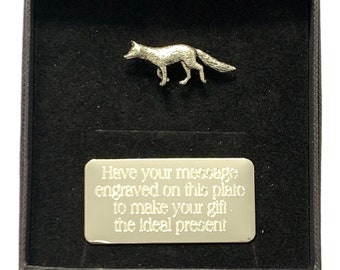 Personalised Gift Box /& Hand Made Pewter Ferret Pin Badge ENGRAVED FREE
