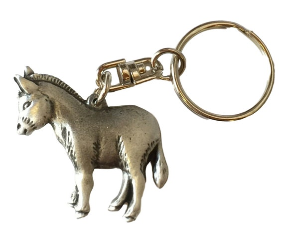 3D Donkey Keyring KR1097 Handcrafted from Pewter in the UK