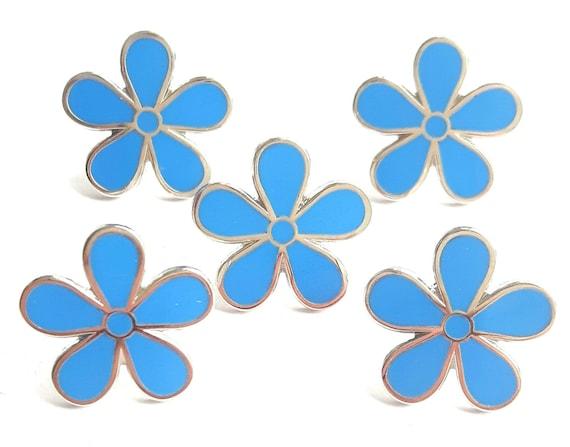 Masonic Set Of 20 Flower Forget Me Not 11mm Enamel Lapel Pin Badges