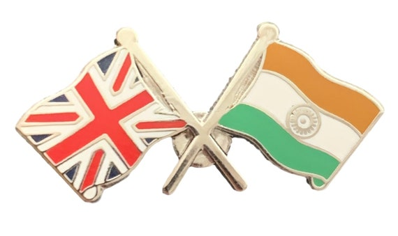 UNION JACK  AND INDIA FLAGS LAPEL PIN