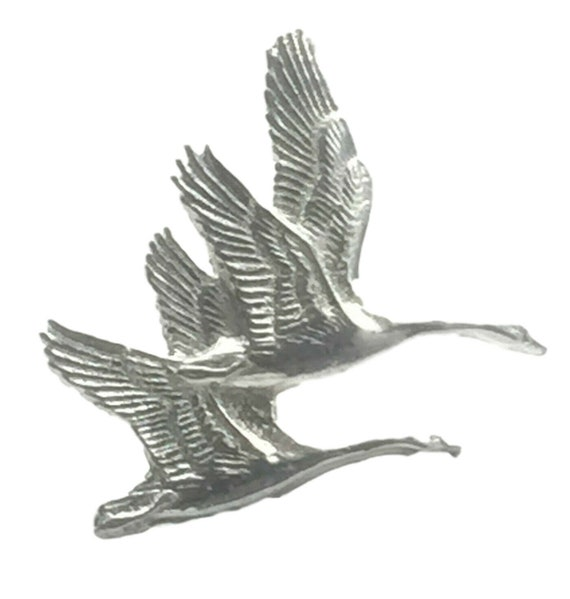 Gift Bag Geese in Flight Handcrafted From English Pewter Lapel Pin Badge