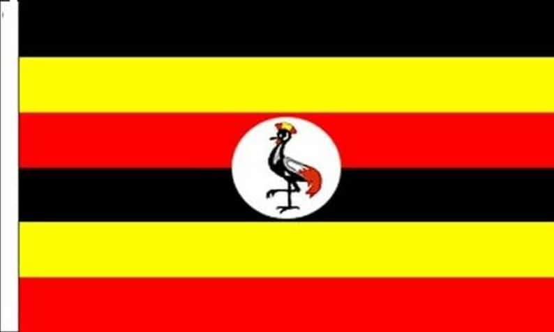 Pack Of Two Uganda Sleeved Flags suitable for Boats 45cm x 30cm