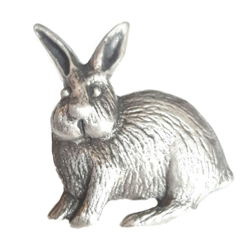 Rabbit Handcrafted From English Pewter Lapel Pin Badge HIND LP1174
