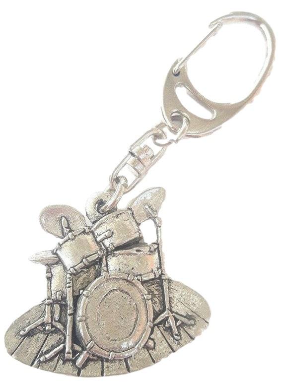 Solid Pewter Drum Kit Key Fob Or Key Ring