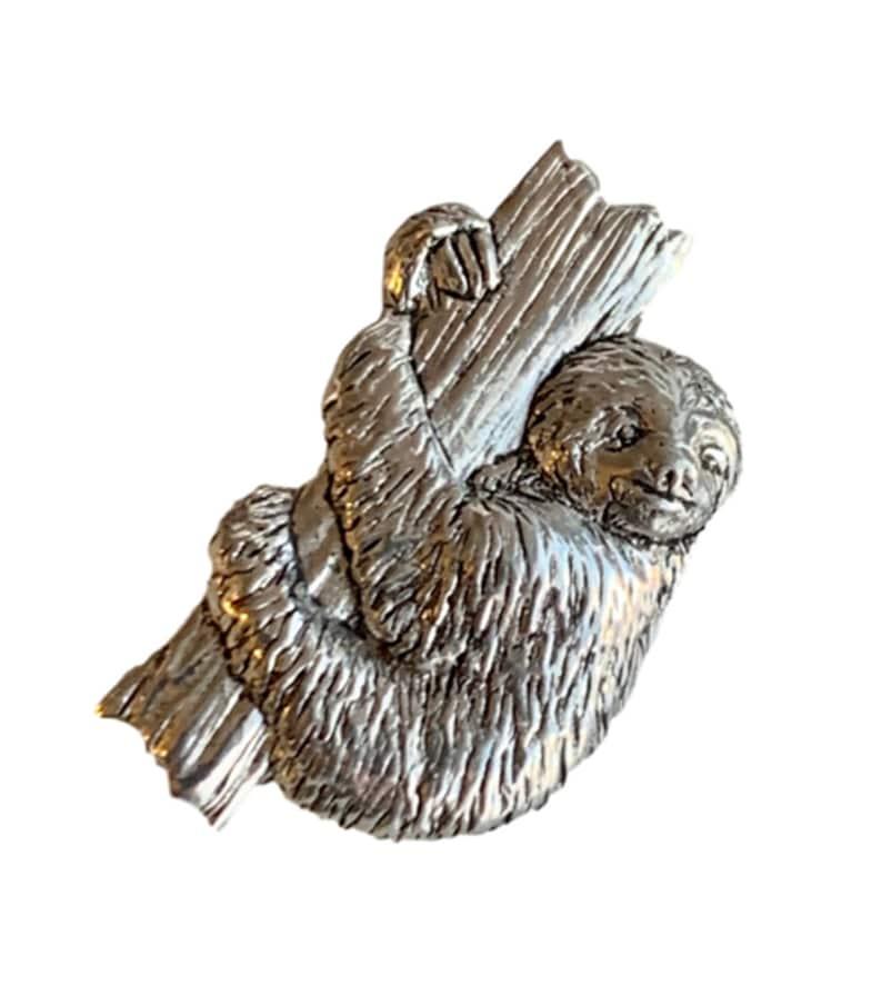 Sloth on Tree Trunk Handmade Pewter Lapel Pin Badge