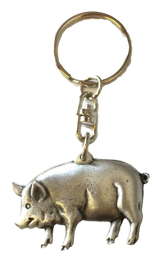 Silver Wild Boar Design English Pewter Keyring Handmade In England Key Ring New
