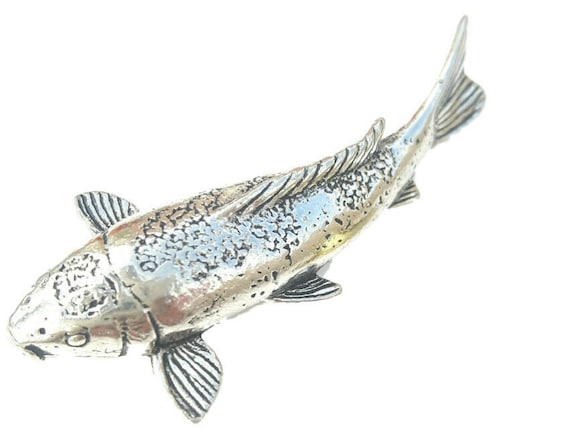 Handmade Angel Fish Pin Badge in Fine English Pewter h