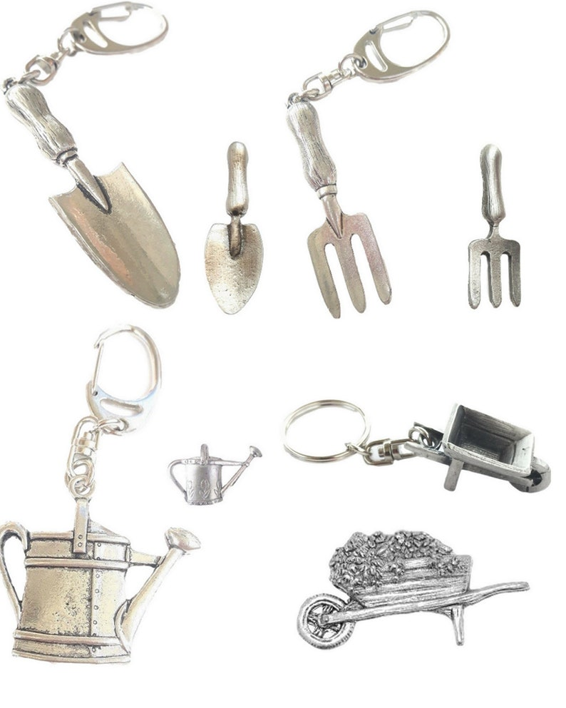 Garden Set Pin Badges And Key rings Boxed Gift Sets Handcrafted In UK Pewter