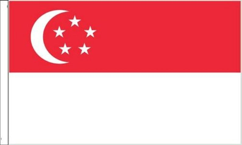 Pack Of Two Singapore Sleeved Flags suitable for Boats 45cm x 30cm