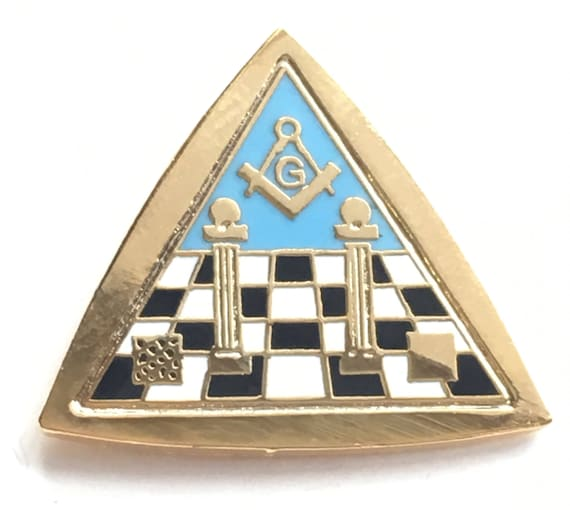 Masonic Temple Symbols In Triangle Freemason Enamel Lapel Etsy