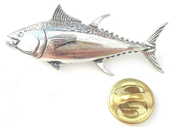Atlantic Salmon Fish Handcrafted from English Pewter in the UK Lapel Pin Badge