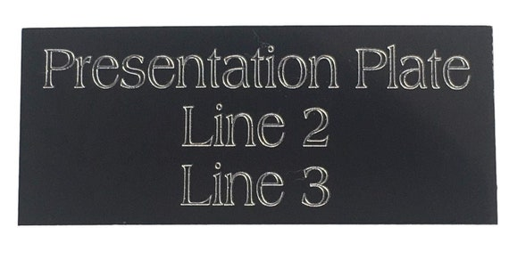 Emblems-Gifts Personalised Gift Presentation Plaque Trophy Black Plate 50 mm x 25 mm