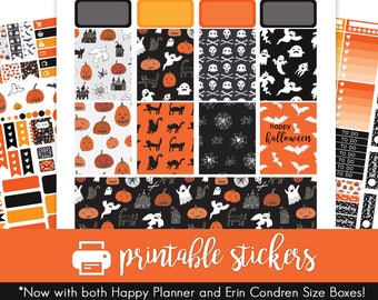 Printable Planner Stickers Halloween / October / Fall / Autumn Weekly Kit! For use with Erin Condren and Happy Planner!