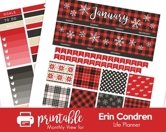 Printable Planner Stickers Winter Buffalo Plaid January Monthly View Kit! w/ Cut Files! For use with Erin Condren!