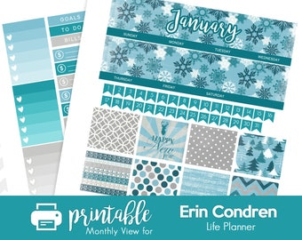 Printable Planner Stickers January Monthly View Kit! w/ Cut Files!  Let it Snow/Winter Theme! For use with Erin Condren!
