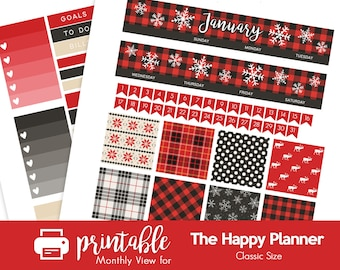 Printable Planner Stickers Winter Buffalo Plaid January Monthly View Kit! w/ Cut Files! For use with The Happy Planner Classic!