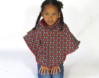 bird poncho jersey with fleece lining