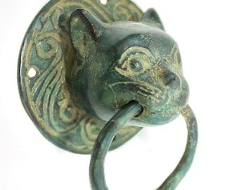 Cat Door Knocker handle knob Pull lost wax Cast Verdigris Bronze Bali Art