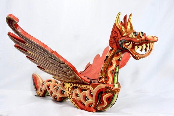 "Flying Naga Dragon Mobile Cradle Guardian Hand Carved wood Balinese Art 16/"" Red"