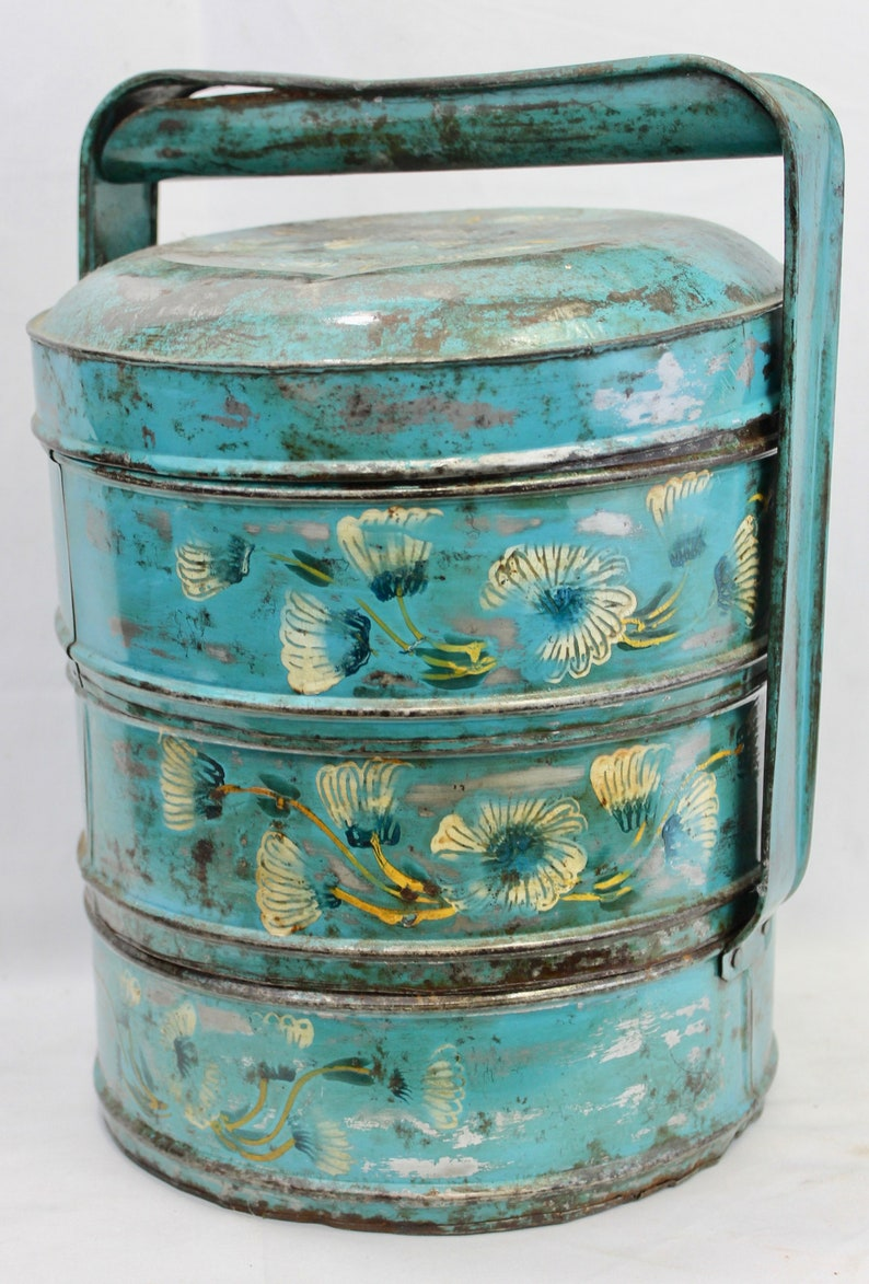 Vintage Tiffin Lunch box lunchbox metal Blue hand painted 3 tiers Indonesian picnic set