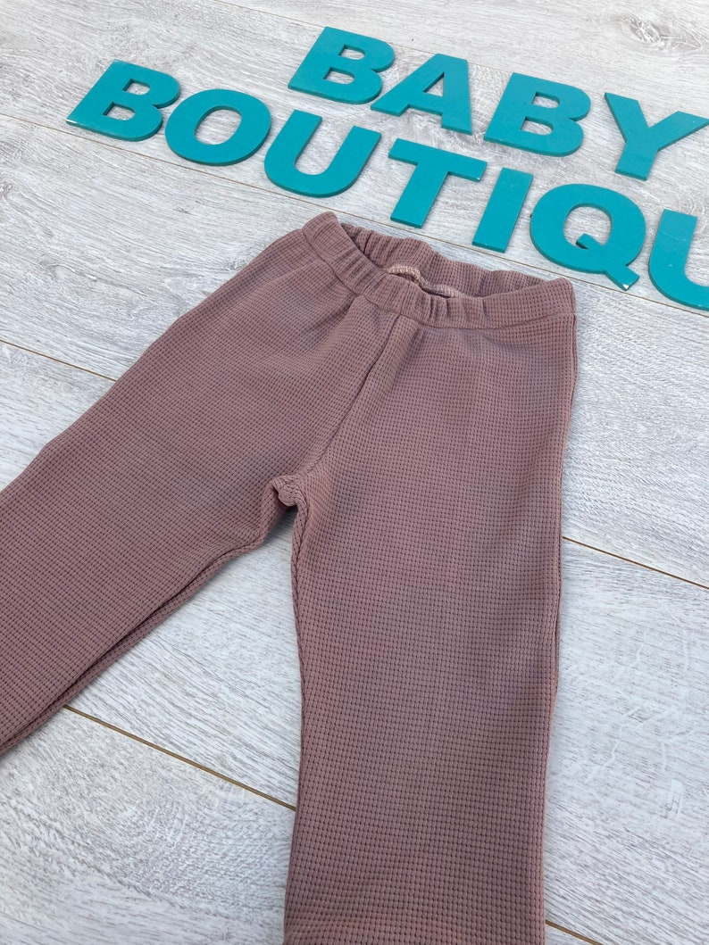 Antique pink waffle pattern cotton jogger trousers