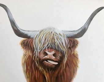"Highland Cow, Art Print, ""Henry"", hand signed"