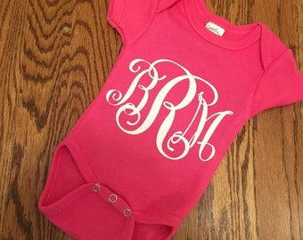Monogrammed Onesie, Baby Girl Onesie, Personalized Onesie, Baby Gift, Coming Home Outfit, New Baby, Baby Girl, First Outfit, Monogram Outfit