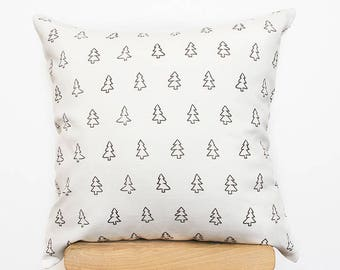White Scandinavians Cushion, Decorative nordic pillows covers with modern tree print cushions