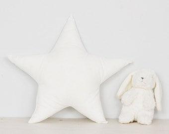 Nursery Star pillow kids room decor decorative throw cushion, white minimalist scandinavian style