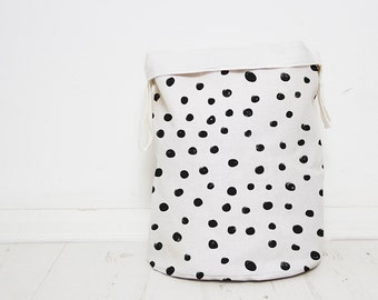 Polka Dots Laundry hamper basket, Monochrome Nursery baby toy storage