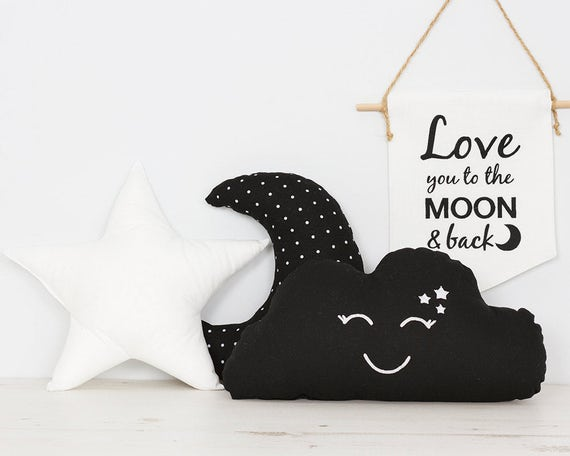Zwart wit set van 3 kussens kinderen kamer decor ster kussen etsy