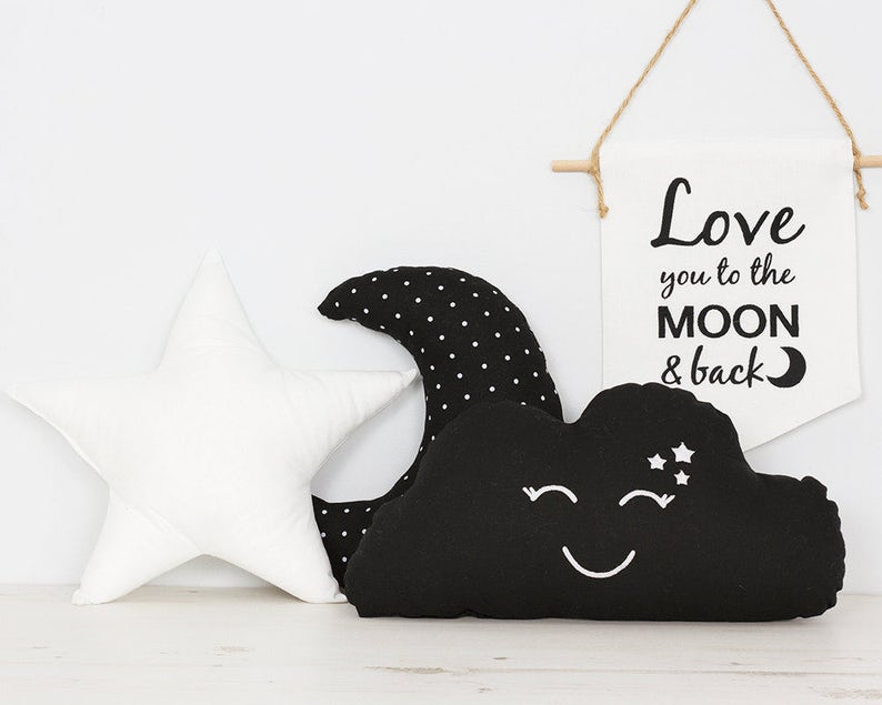 f9769094b74 Black and White Set of 3 Pillows kids room decor Star Cushion