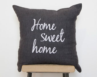 Handmade Home sweet Home embroidered linen cushion cover, housewarming gift