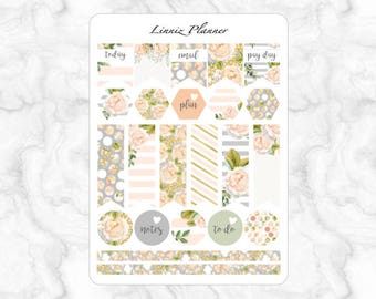 Champagne Bloom Flags (matte planner stickers, Filofax, Kikki K, Websters Pages, Color Crush)