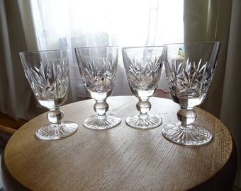 Set of 4 vintage lead crystal cut glass port sherry glasses