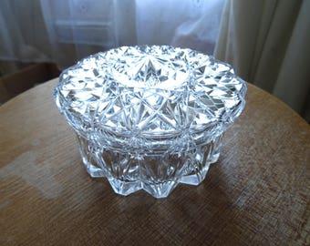 Beautiful lead crystal cut glass powder/trinket/vanity box