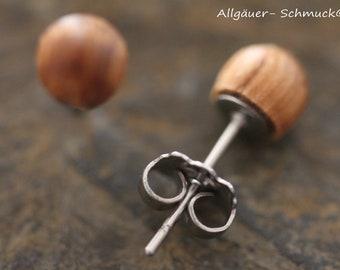 6mm wooden stud earrings with 925 silver or stainless steel plug scoop studs wood jewelry wooden earring for men women wooden round earrings
