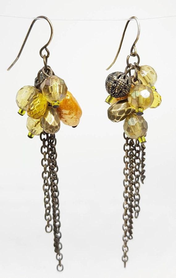 Long Gold White Black Clip-On Earrings Glass Bead Vintage Boho Heart Style