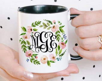 Initial Mugs - Monogram Mug - Custom Monogram Gift - Monogrammed Mugs - Name Mug - Custom Monogram Mug - Customized Mug for Her - Logo Mug