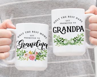 Only the best moms get promoted to Grandma - Only the best dads get promoted to Grandpa - Grandma Mug - Grandpa Mug - Custom Grandma Mug