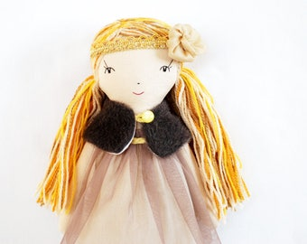 High fashion doll, rag doll, cloth doll, pastel dolls, treasure doll, fabric doll, interior doll, Christmas doll, Christmas gift for her