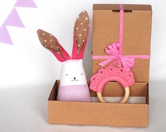 Baby toys set, baby girl teething toys, Montessori motor skills toys, crochet teething ring, gift for new mom, first birthday gift