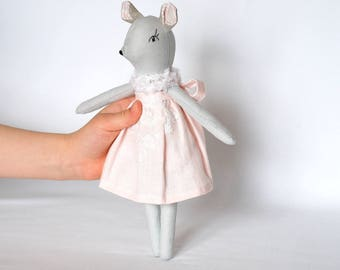 Grey soft mouse, mouse toys, mouse rag doll, cloth toy, pastel soft toys, stuffed animal toys, blush pink toys, cuddle toys, heirloom doll