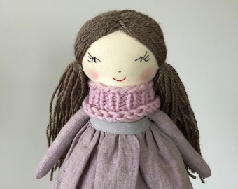 Birthday Fabric Cloth First Rag Doll Heirloom Gift For Girl Handmade Dolls Lavender Dolls Dress