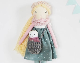 Mom and baby rag doll, stuffed fabric cloth doll and baby play set, doll Charlotte